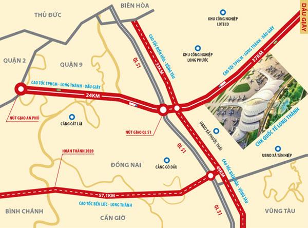 các tuyến đường cao tốc kết nối sân bay Long Thành.