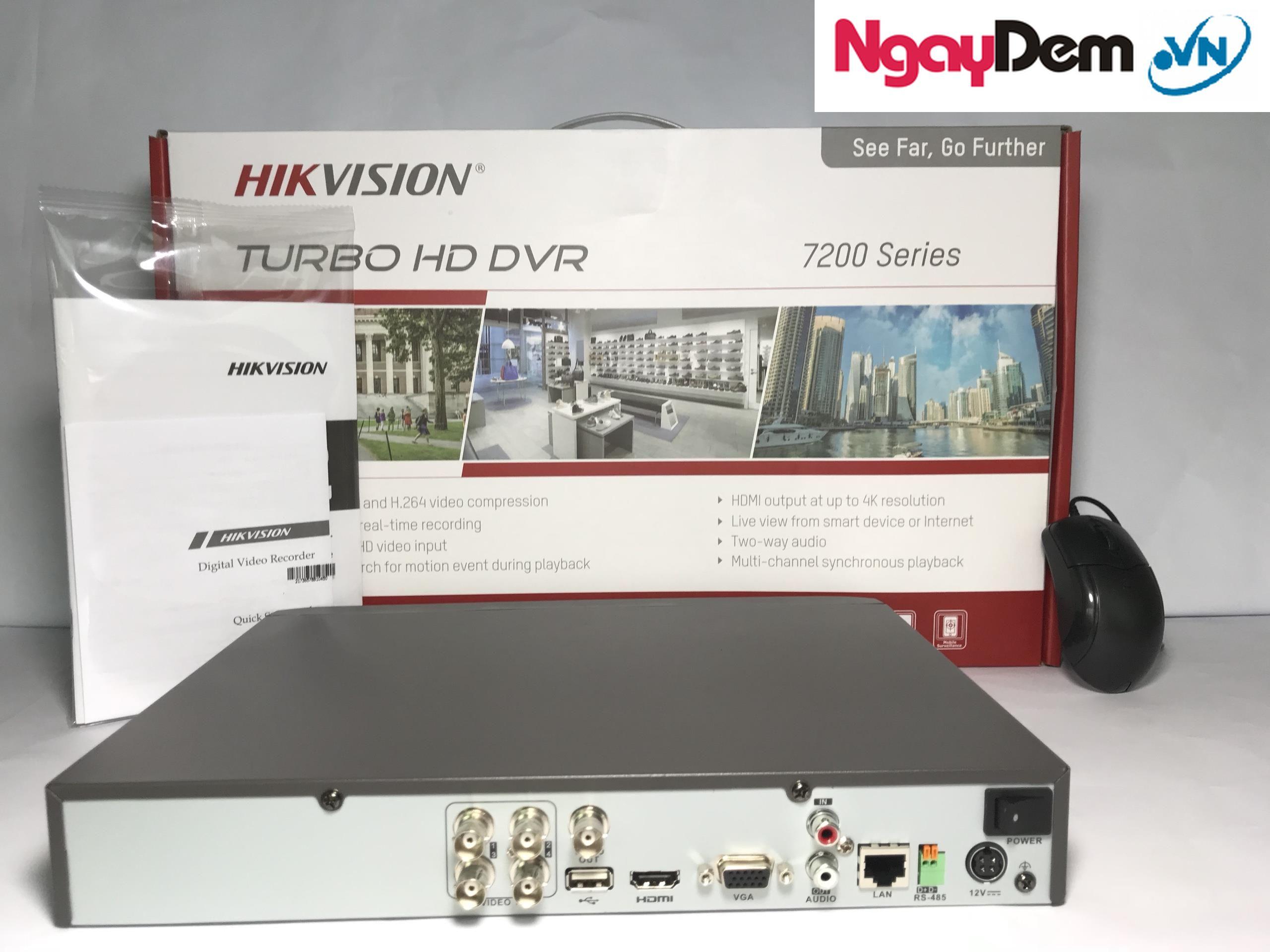 đầu thu camera DS 7204HUHI F1 N 4 Kênh Chuẩn H.265 Pro.