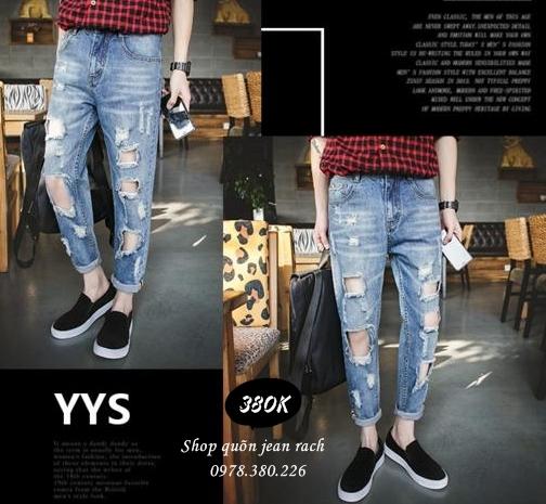 Phong cach quan jeans nam rach